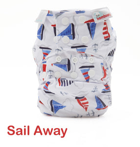 Bambooty One Size All in Two Sail Away print The Cloth Nappy Company Malta