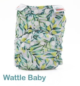 Bambooty One Size All in Two Wattle Baby print The Cloth Nappy Company Malta