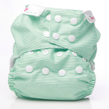 Load image into Gallery viewer, Bambooty One Size All in Two Green Stripes print The Cloth Nappy Company Malta
