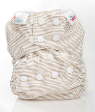 Load image into Gallery viewer, Bambooty One Size Nappy Cover Latte Stripes print The Cloth Nappy Company Malta