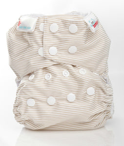 Bambooty One Size Nappy Cover Latte Stripes print The Cloth Nappy Company Malta