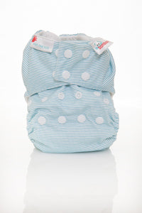 Bambooty One Size All in Two Baby Blue Stripes print The Cloth Nappy Company Malta