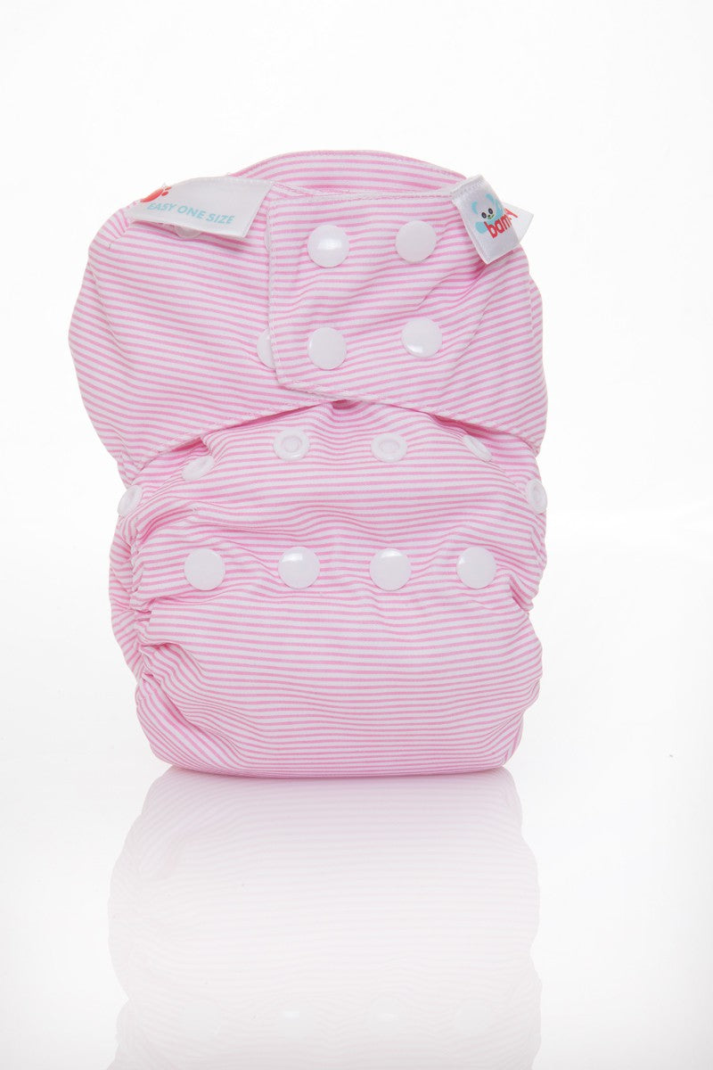Bambooty One Size All in Two Baby Pink Stripes print The Cloth Nappy Company Malta