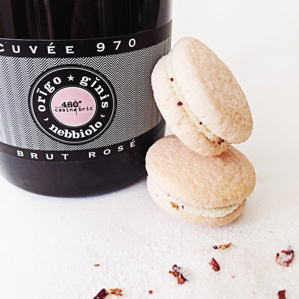 Blackout Baking Co Rosé Champagne Macaron Cookie Close-Up