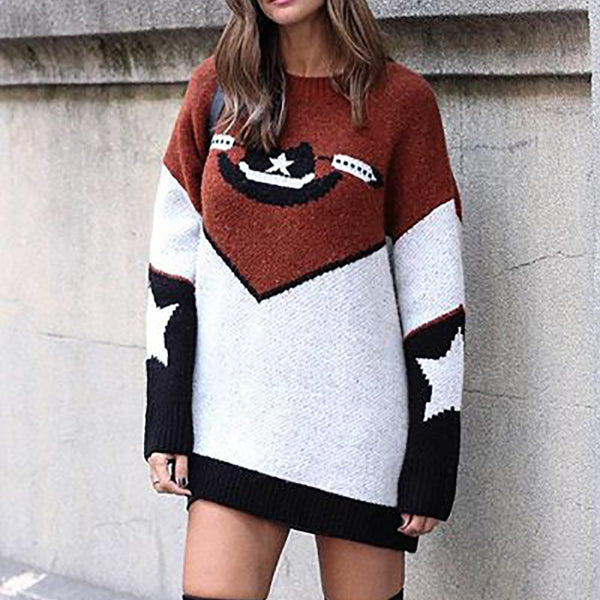 Casual round neck color matching star print long sleeve knit sweater
