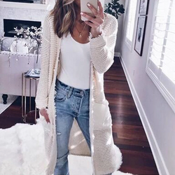 Fashion Long Sleeve Plain Pocket Cardigan