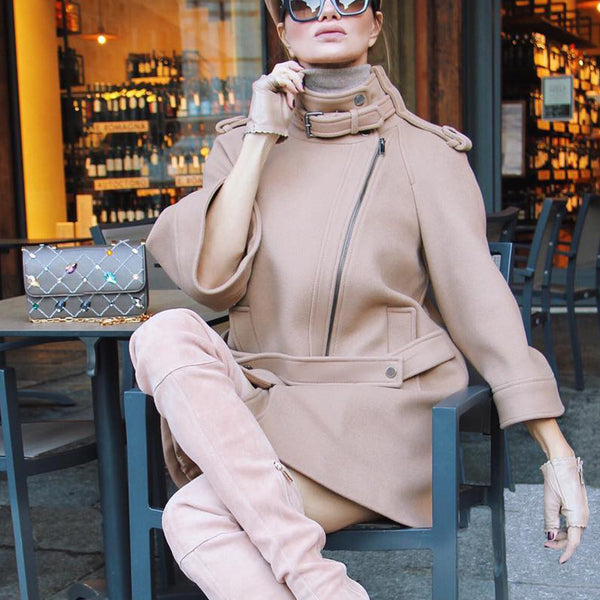 Women's Fashion Loose Solid Color Collar Coat