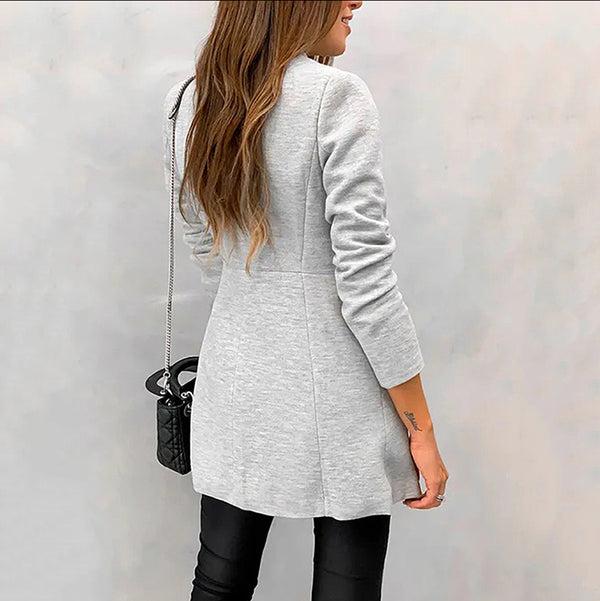 Women Cold Colour Tailored Collar Long Sleeve Splicing Coat