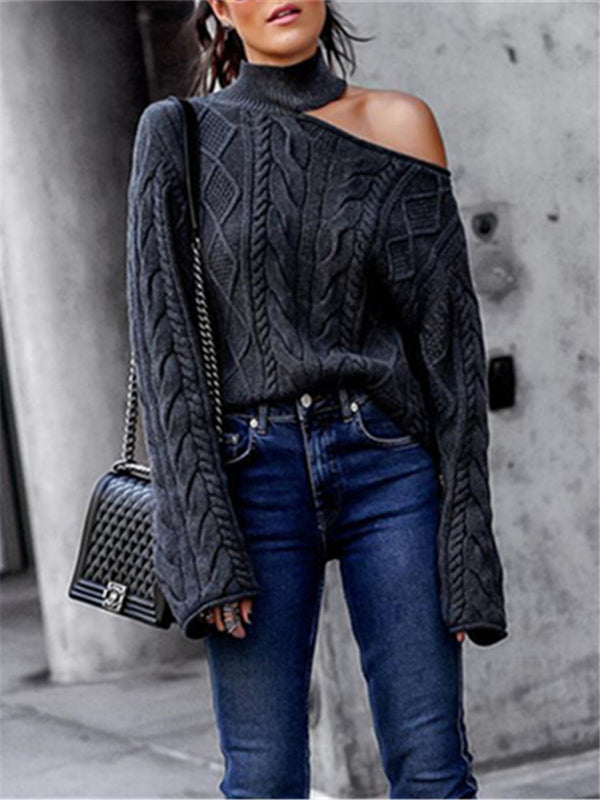 Twisted High Neck Pullover Off-The-Shoulder Knitted Sweater