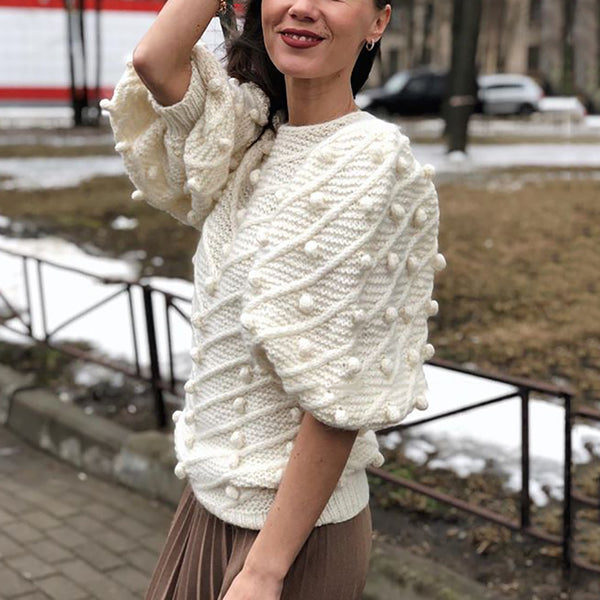 Fashion Pure Color Round Collar Half Sleeve Knitted Sweater