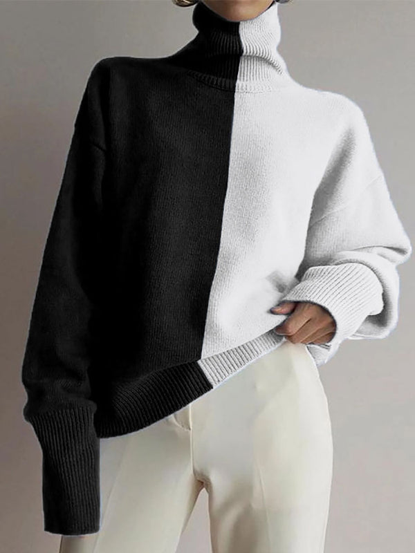 Women's casual high collar contrast color loose sweater