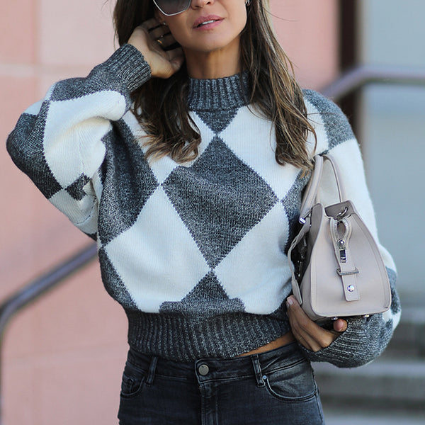 Fashion Round Neck Plaid Sweater