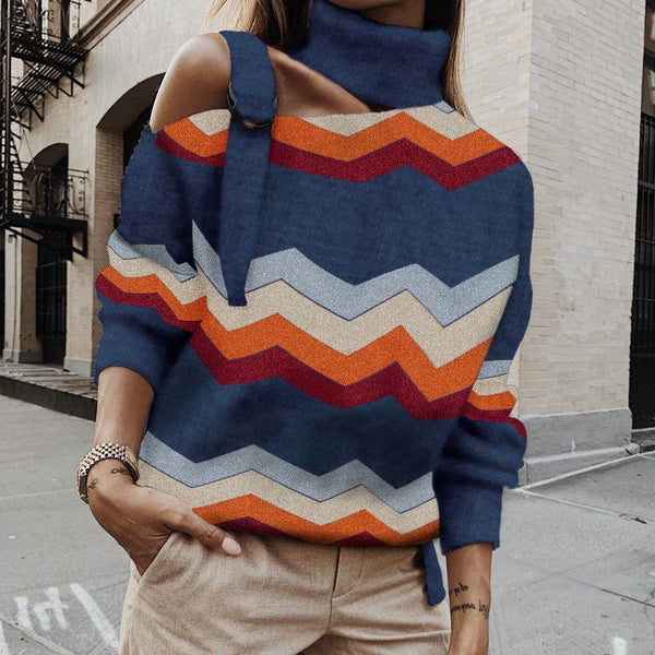 Fashion Individuality Hanging Collar One Off-shoulder Knitwear