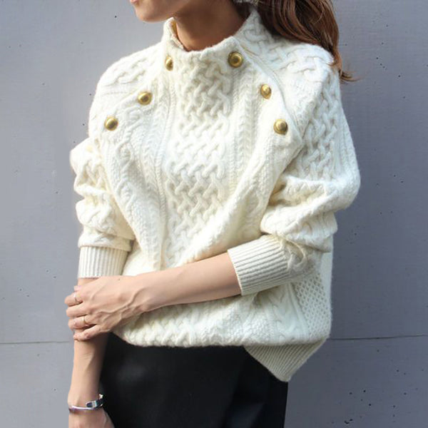 Fashion Solid Color Round Collar Knitted Sweater