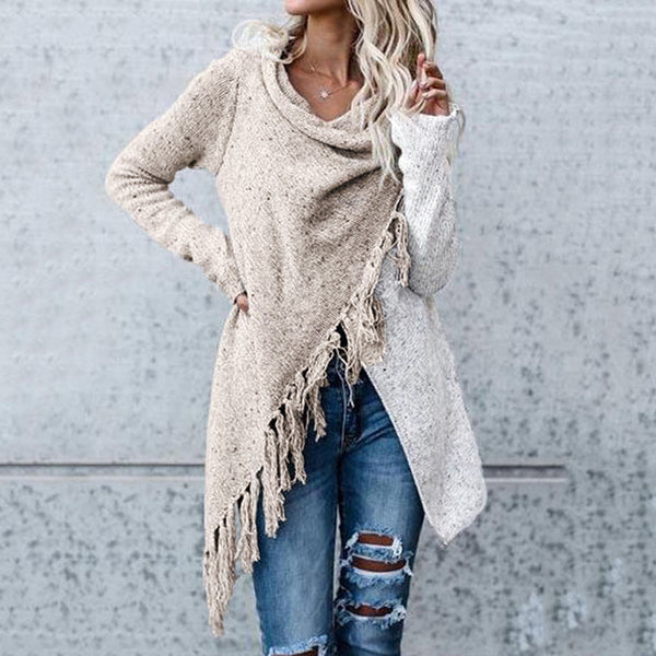 Ladies fashion casual loose tassel sweater