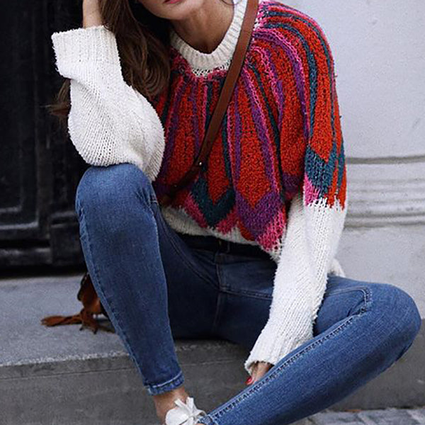 Sweet round neck colorblock long sleeve knit sweater