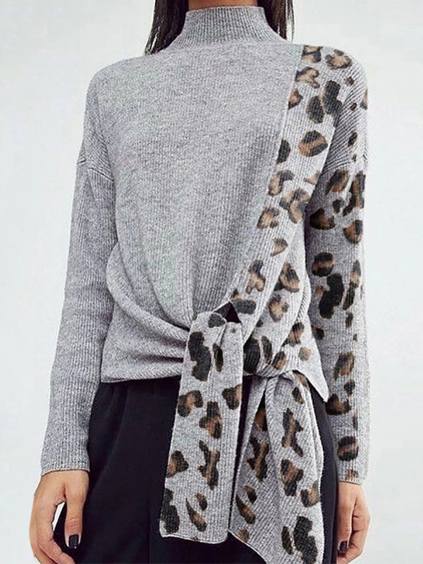 Finalpink Modern Splicing Leopard Print Belted Long Sleeve Sweater