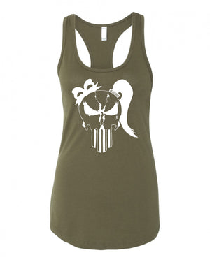 Ladies Punisher Skull Racerback - One Last Round Apparel