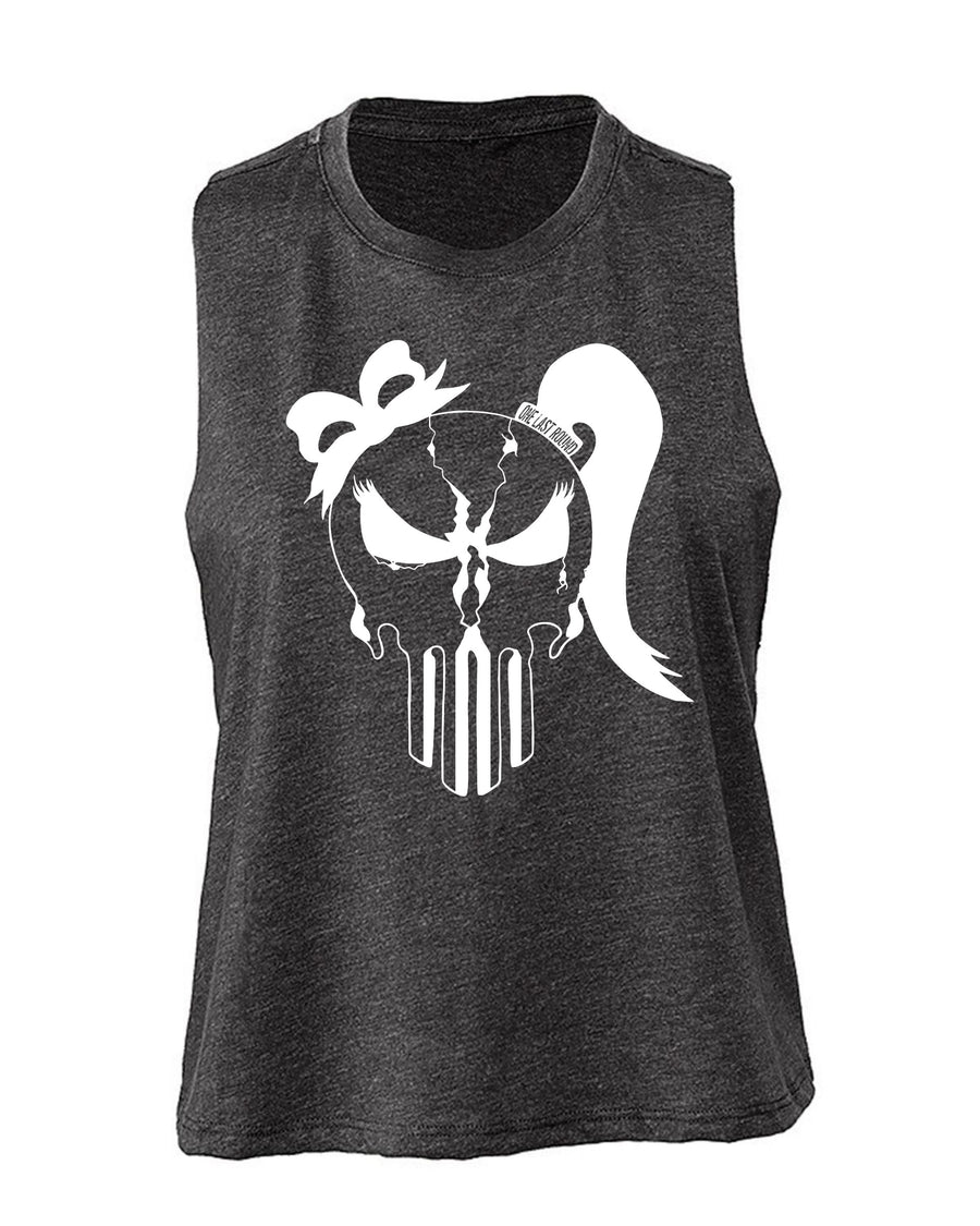 Ladies Punisher Skull Crop - One Last Round Apparel