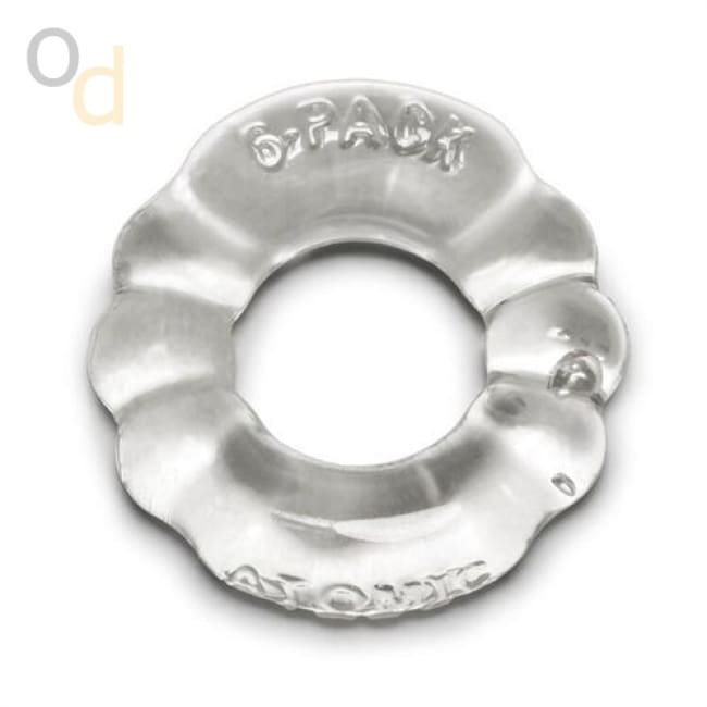 6 Pack Cockring Atomic Jock - Clear - Cock Rings