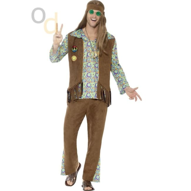 60s Hippie Costume with Trousers Top Waistcoat - Costumes