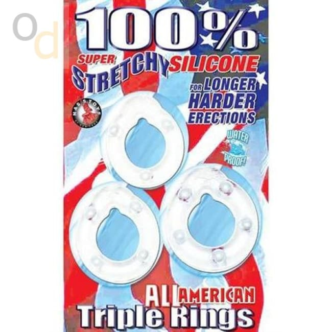 All American Triple Rings- Clear - Cock Rings