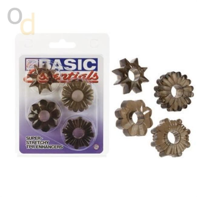 Basic Essentials 4 Pack - Smoke - Cock Rings