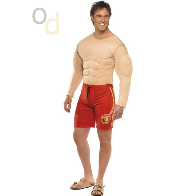 Baywatch Lifeguard and Muscle Chest Costume - Costumes