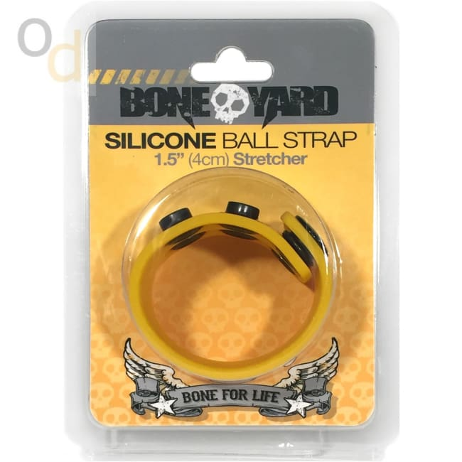 Boneyard Silicone Ball Strap 4cm Stretcher - Yellow - Cock Rings