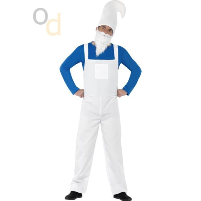 Garden Gnome Bearded Costume Blue and White Male - Costumes