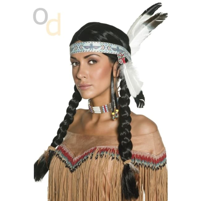 Native American Inspired Black Wig with Feather - Wig