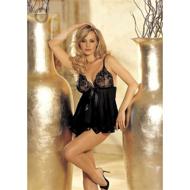 Sequin Embroidery and Sheer Net Baby Doll - One Size - Black - Lingerie