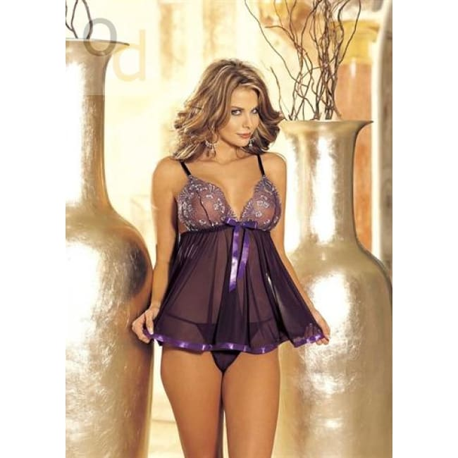 Sequin Embroidery and Sheer Net Baby Doll - One Size - Purple - Lingerie