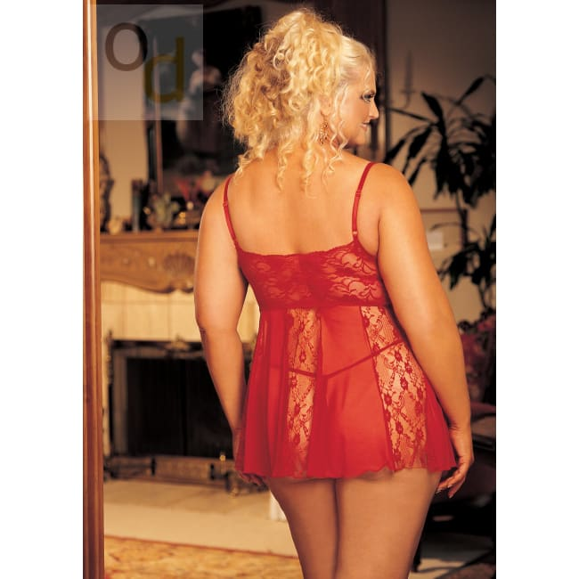 Stretch Lace Sheer Net & Lace Panels Babydoll - Queen Size - Red - Lingerie