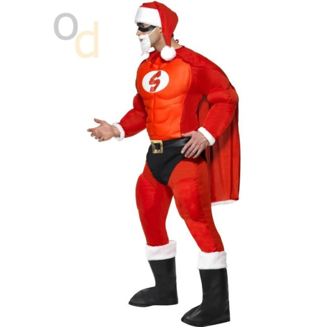 Super Fit Santa Costume & Beard - Costumes