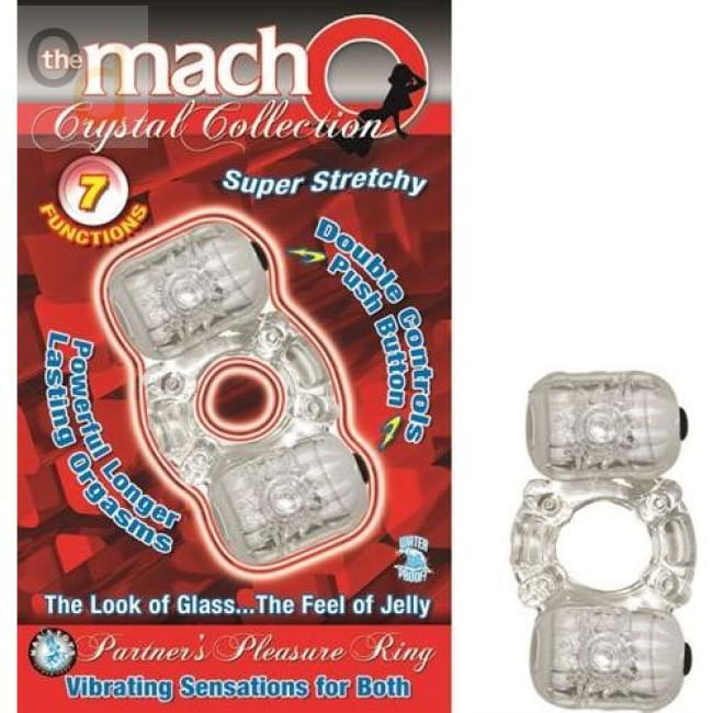 The Macho Crystal Collection Partners Pleasure Ring Clear - Cock Rings