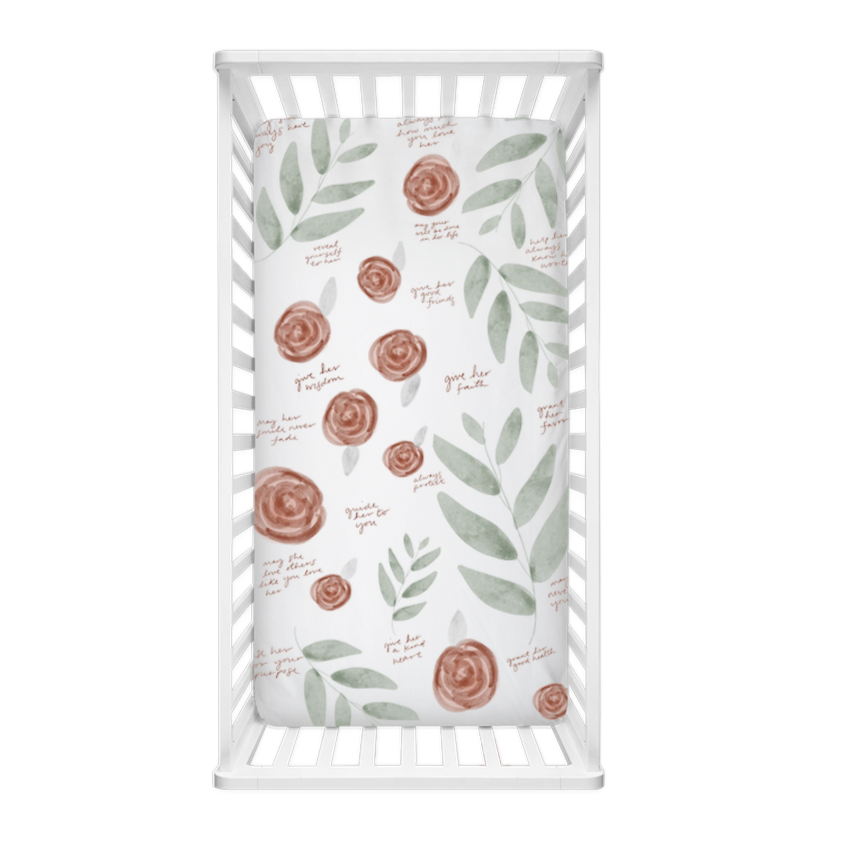 Rose Leaf Surrounded By Prayer Crib Sheet - Aisha Branch Studio Shop