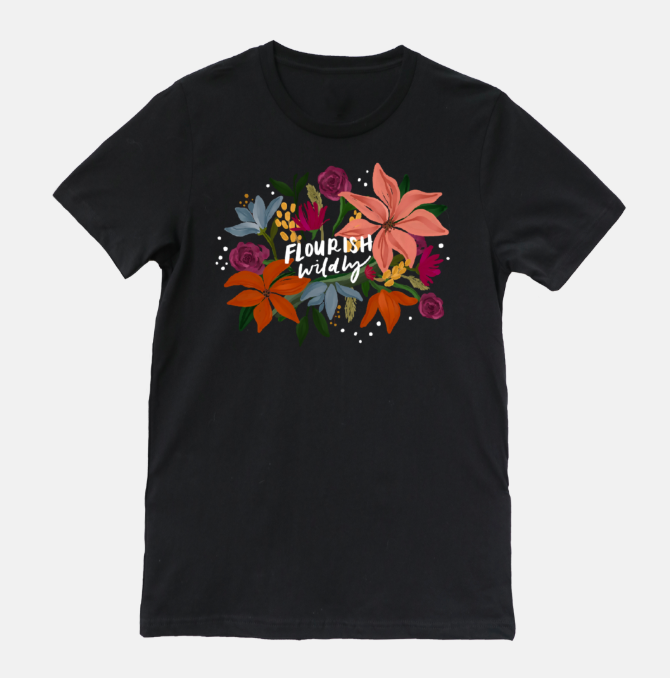 Flourish Wildly Black T- Shirt