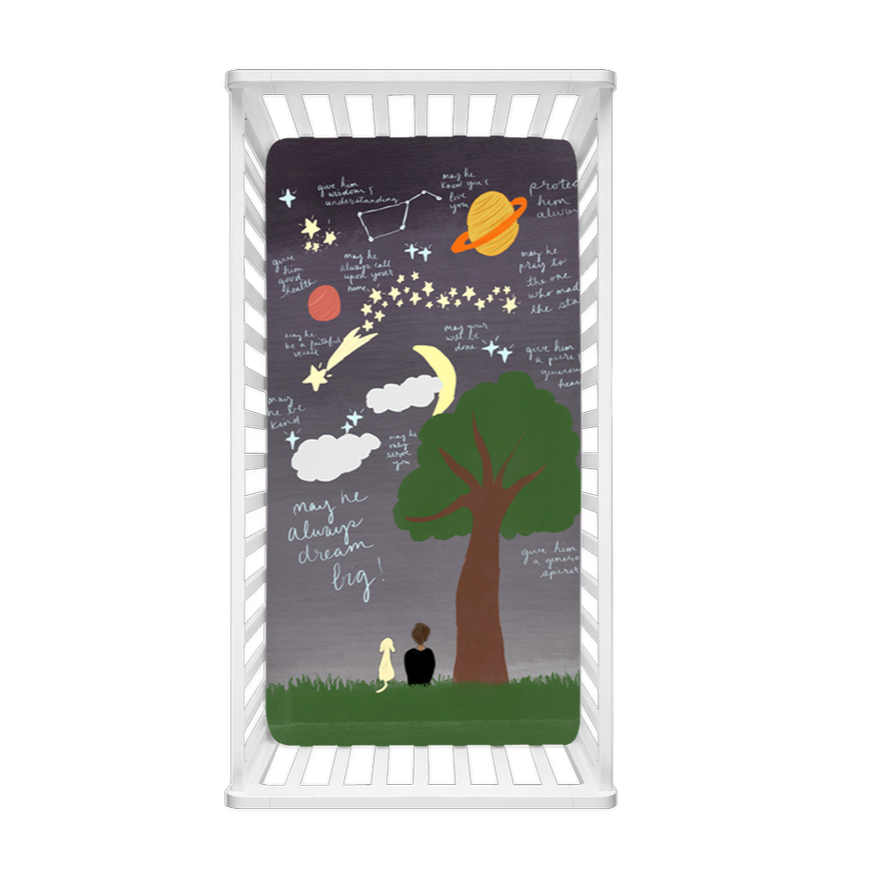 Reach for the Stars Surrounded By Prayer Crib Sheet- For Him - Aisha Branch Studio Shop