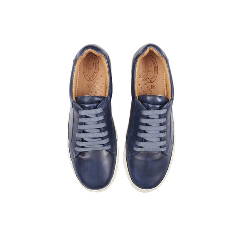 Royale - Low Top Leather Sneakers in Navy Blue - TLC - The Leather Crafts