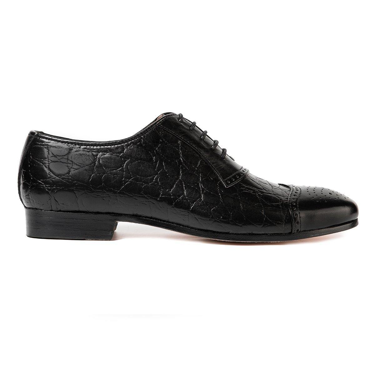 Nile Croc - Oxfords in  Black - TLC - The Leather Crafts
