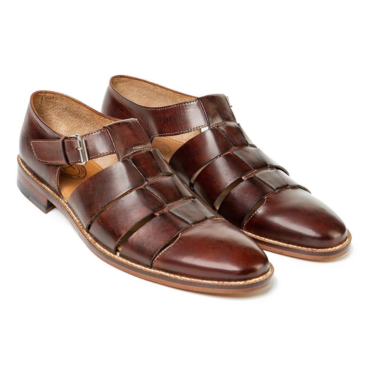 Roman Cage Sandals in Tobacco - TLC - The Leather Crafts