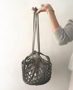 【予約販売】multi-way mesh bag mini [Mocha (Gray Beige) × Light Gray Beige]
