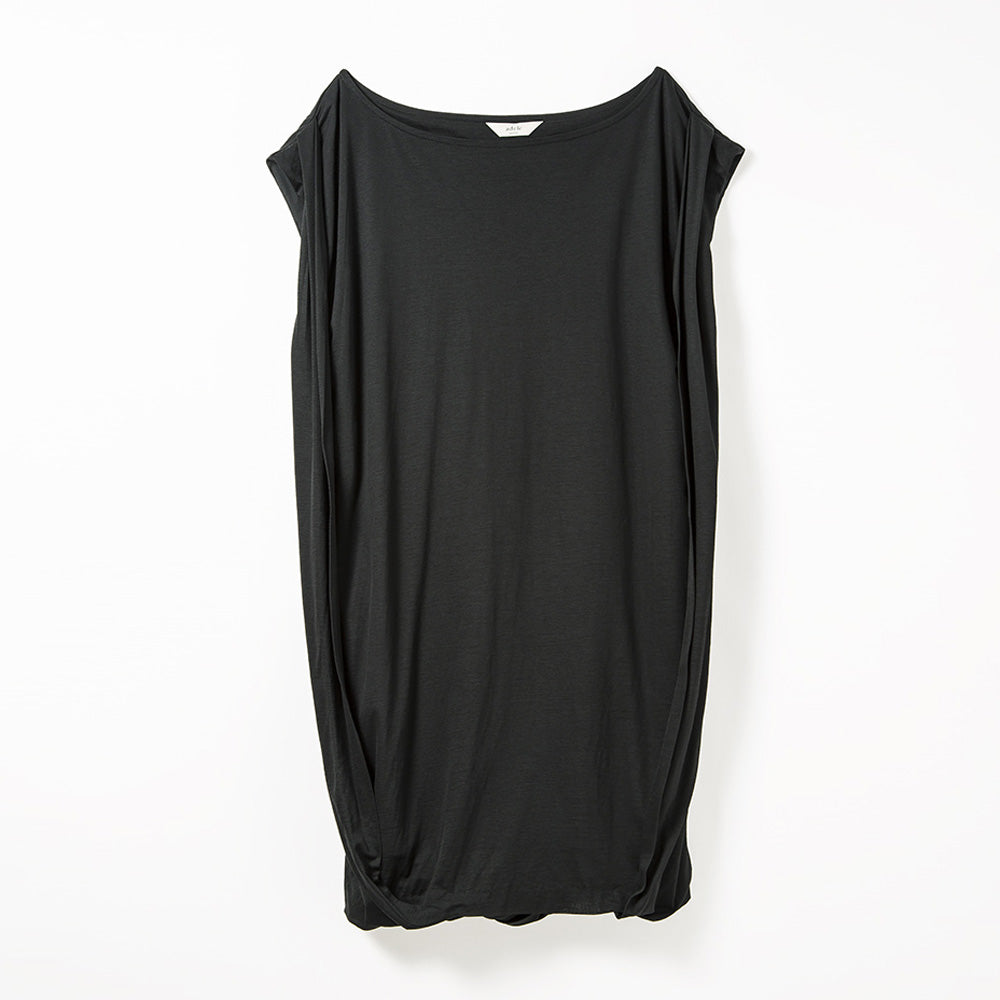 Drapy Boat Neck One-piece (Black)