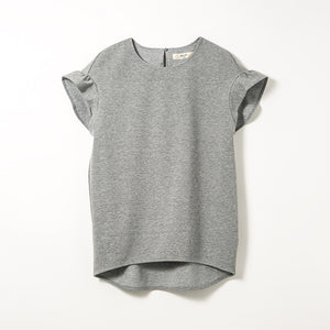 Frill Sleeve Tops (Medium Gray)