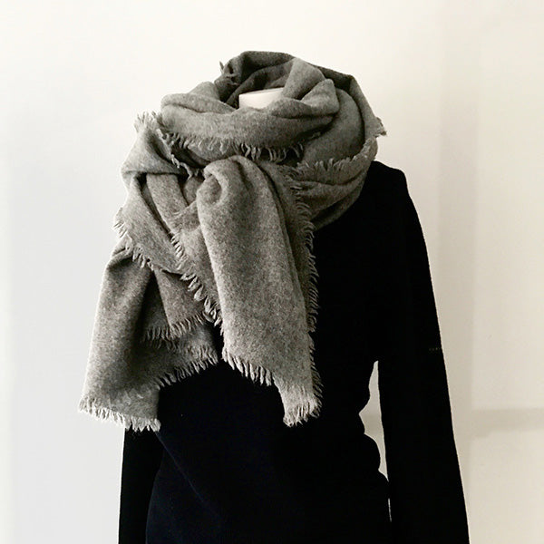 Fluffy Cashmere Stole (Medium Gray)