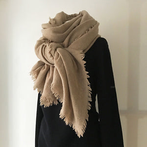 Fluffy Cashmere Stole (Natural Beige)