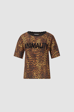 T-Shirt mit Animality-Print und Strass-Statement