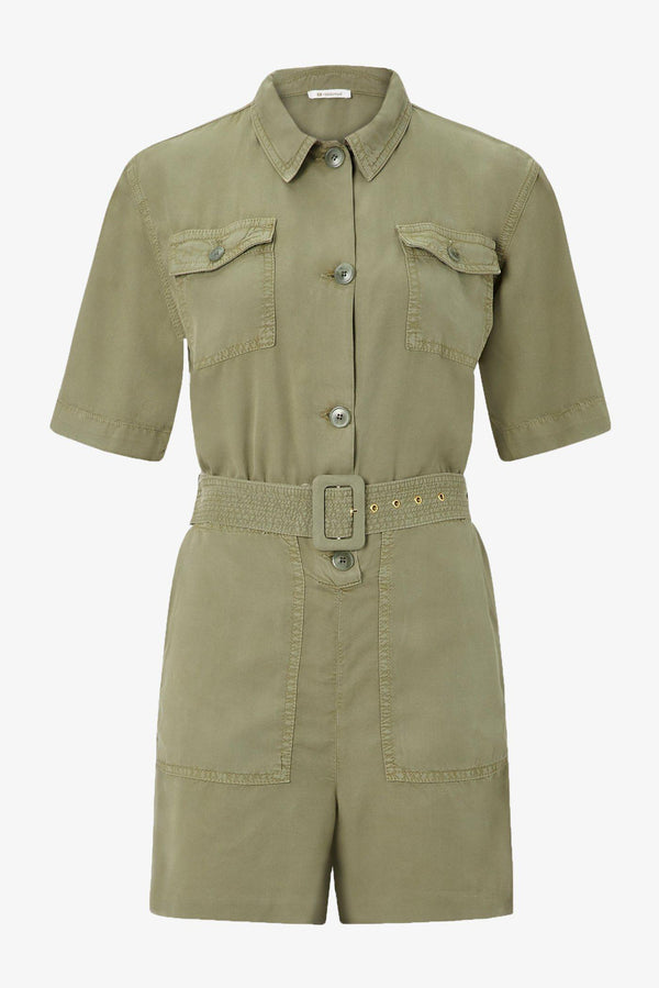 Kurzer Jumpsuit in Khaki-Optik