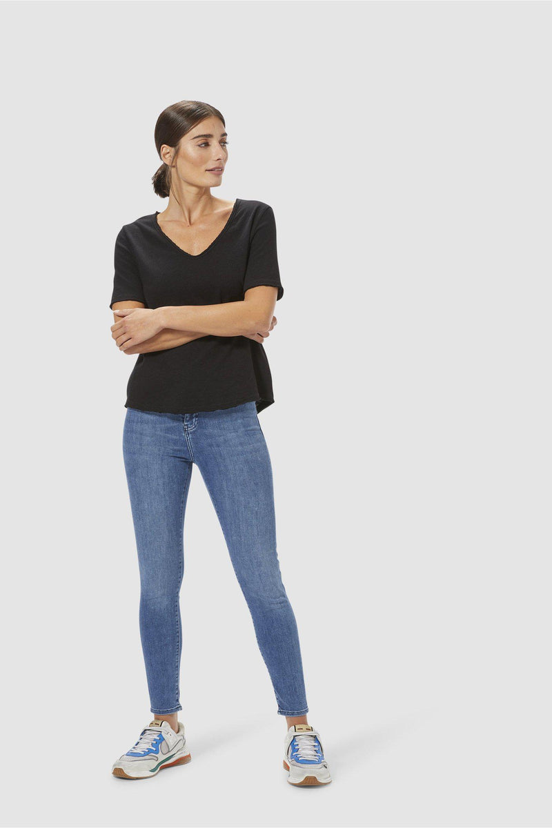 High-Waist Jeans Blue Satin-Collection-Rich & Royal
